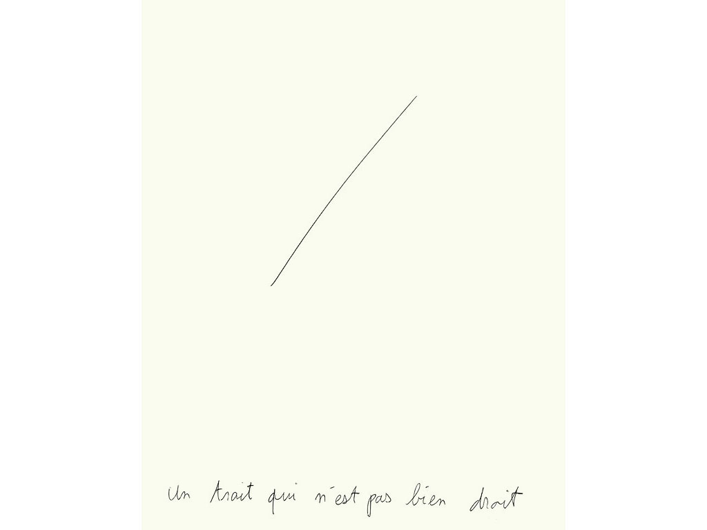 Claude Closky, 'Un trait qui n'est pas bien droit [a line that isn't very straight]', 1993, ballpoint pen on paper, 30 x 24 cm.