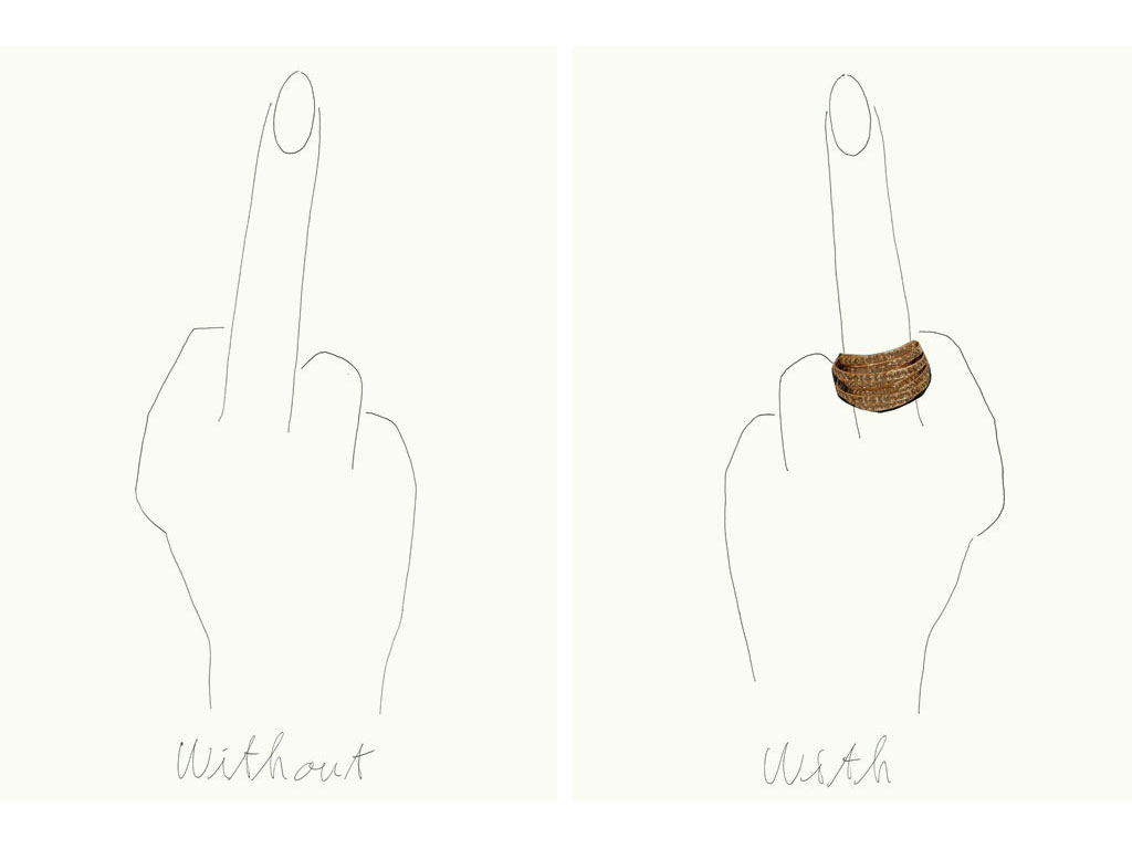 Claude Closky, 'Without and with (the finger)', 2007, black ball point pen, collage on paper, diptych, 2 x 40 x 30 cm.