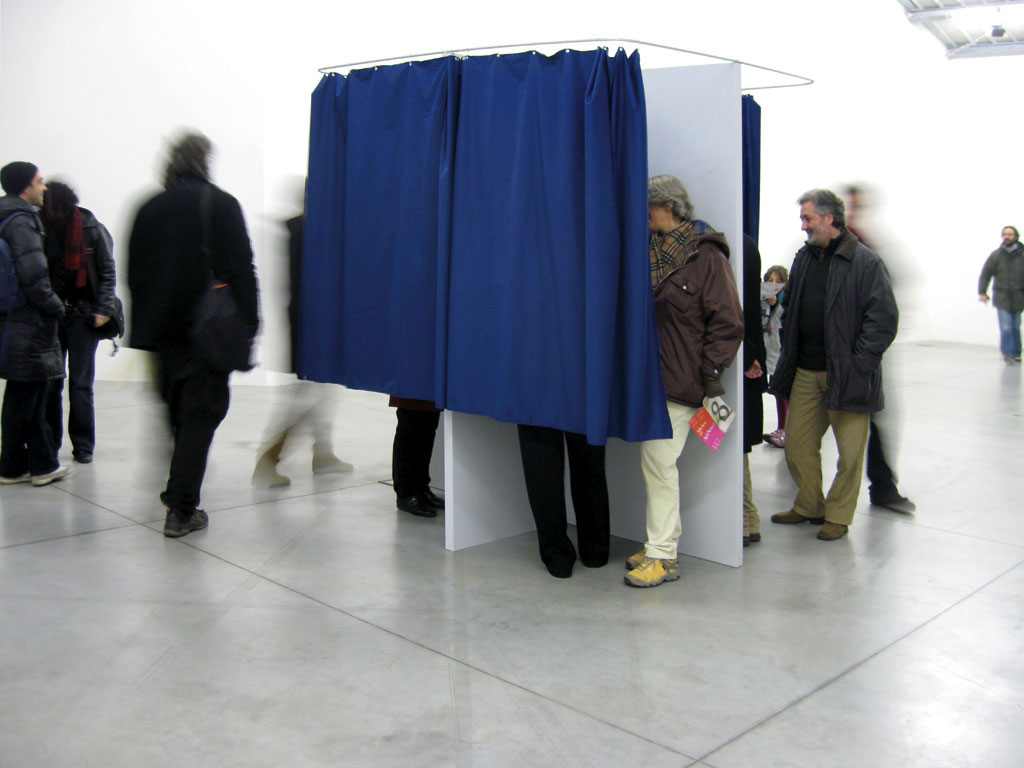 Claude Closky, 'Yes', 2006-2007, interactive installation, x voting booths (wood & curtain), x touch-screen LCD monitors, x computers, x amplifier, x speakers, permanent internet connection, dimensions variable. Exhibition view 'Yes', Galleria Enrico Fornello, Prato. 19 January - 4 March 2008.