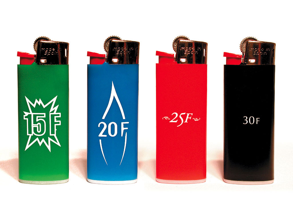 Claude Closky, 'Untitled (15, 20, 25, 30 Francs)', 2000, 4 lighters, Paris: Colette.