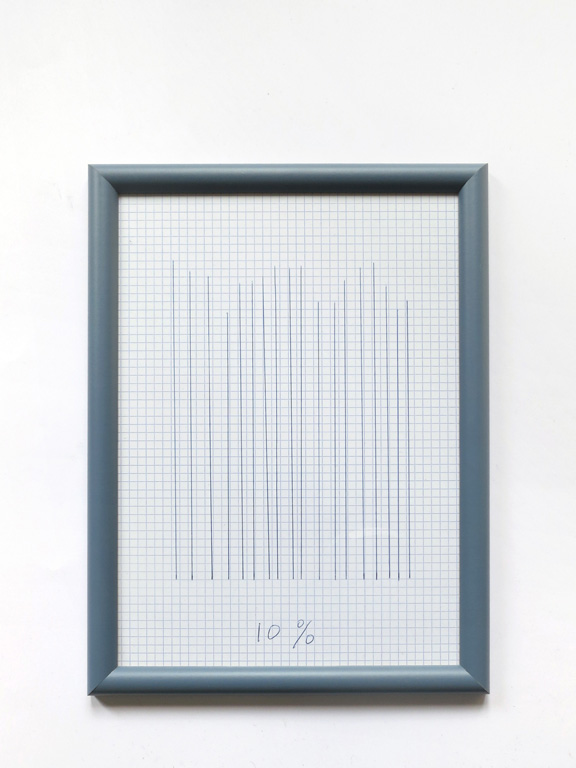 Claude Closky, '10%', 2014, black ballpoint pen on grid paper, wood frame painted blue, 33 x 24 cm.