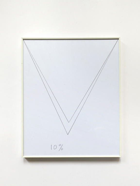 Claude Closky, '10%,' 2014, black ballpoint pen on paper, white plastic frame, 30,5 x 24,5 cm.