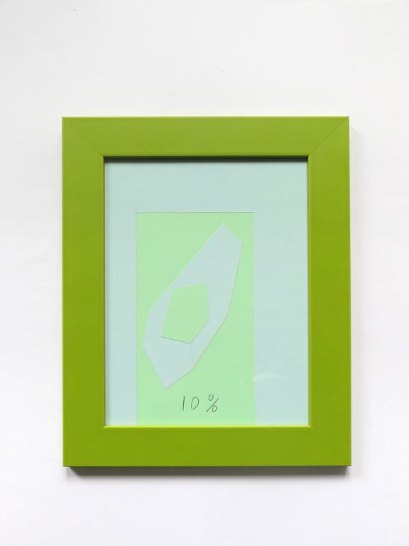 Claude Closky, '10%', 2014, collage, black ballpoint pen on paper, wood frame painted green, 30 x 24 cm.