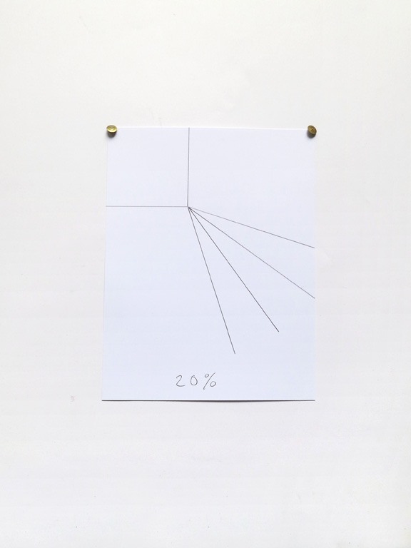 Claude Closky, '20%', 2014, black ballpoint pen on paper, drawing pins, 24 x 18 cm.