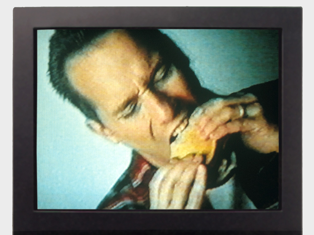 Claude Closky, '200 Mouths To Feed,' 1994, video presented on a monitor, silent, 5 minutes. Coproduction Centre pour l'Image Contemporaine (S-G,G), Geneva.