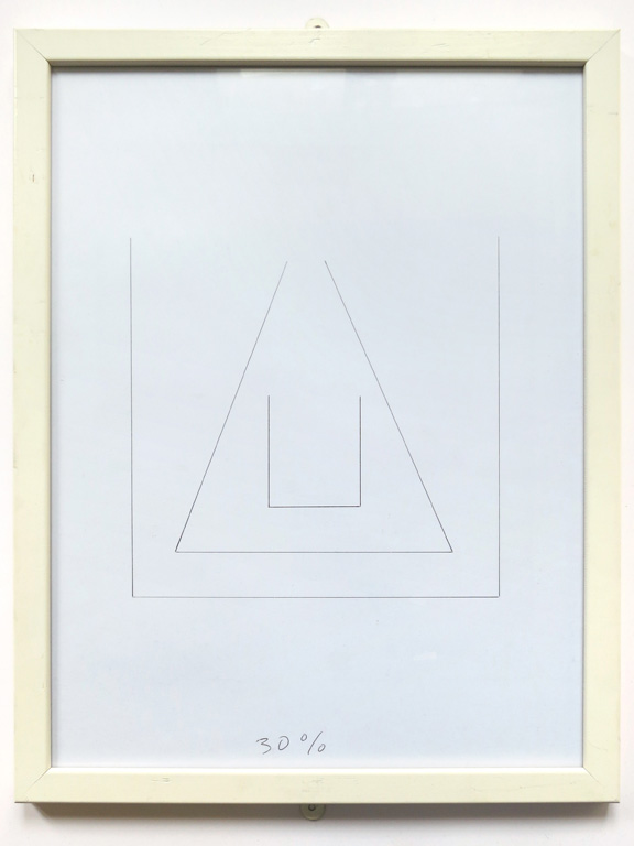 Claude Closky, '30%', 2014, black ballpoint pen on paper, wood frame painted white, 43 x 33 cm.