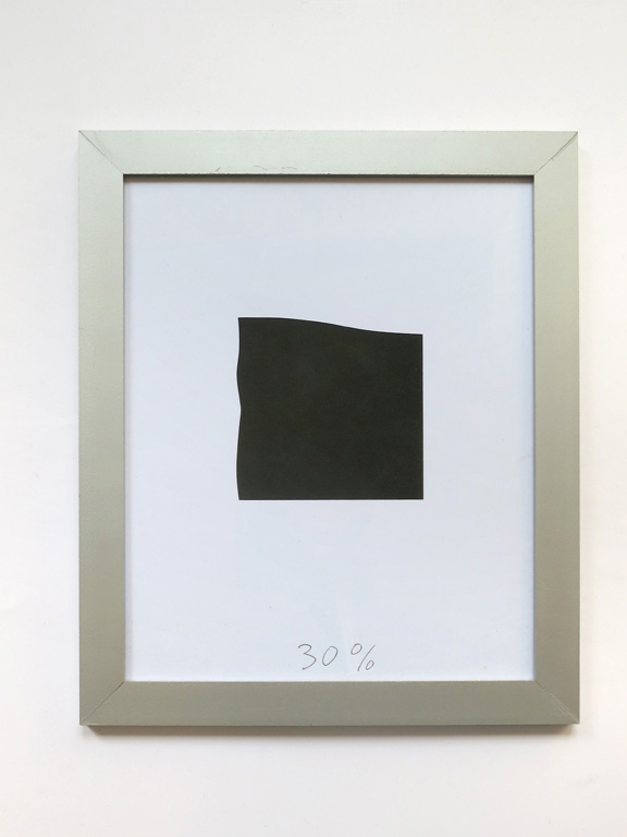 Claude Closky, '30%', 2014, collage, black ballpoint pen on paper, aluminium painted wood frame, 34 x 28 cm.