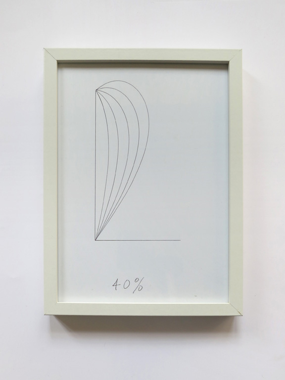Claude Closky, '40%', 2014, black ballpoint pen on paper, wood frame painted white, 32 x 23 cm.