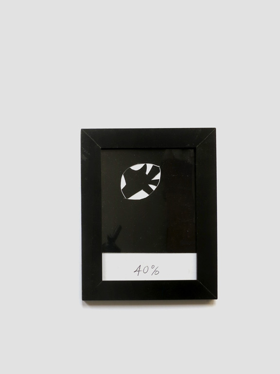 Claude Closky, '40%', 2014, black ballpoint pen on paper, wood frame painted black, 22 x 16,5 cm.