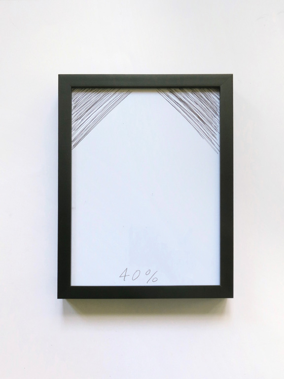 Claude Closky, '40%', 2014, black ballpoint pen on paper, wood frame painted black, 26,5 x 20,5 cm.