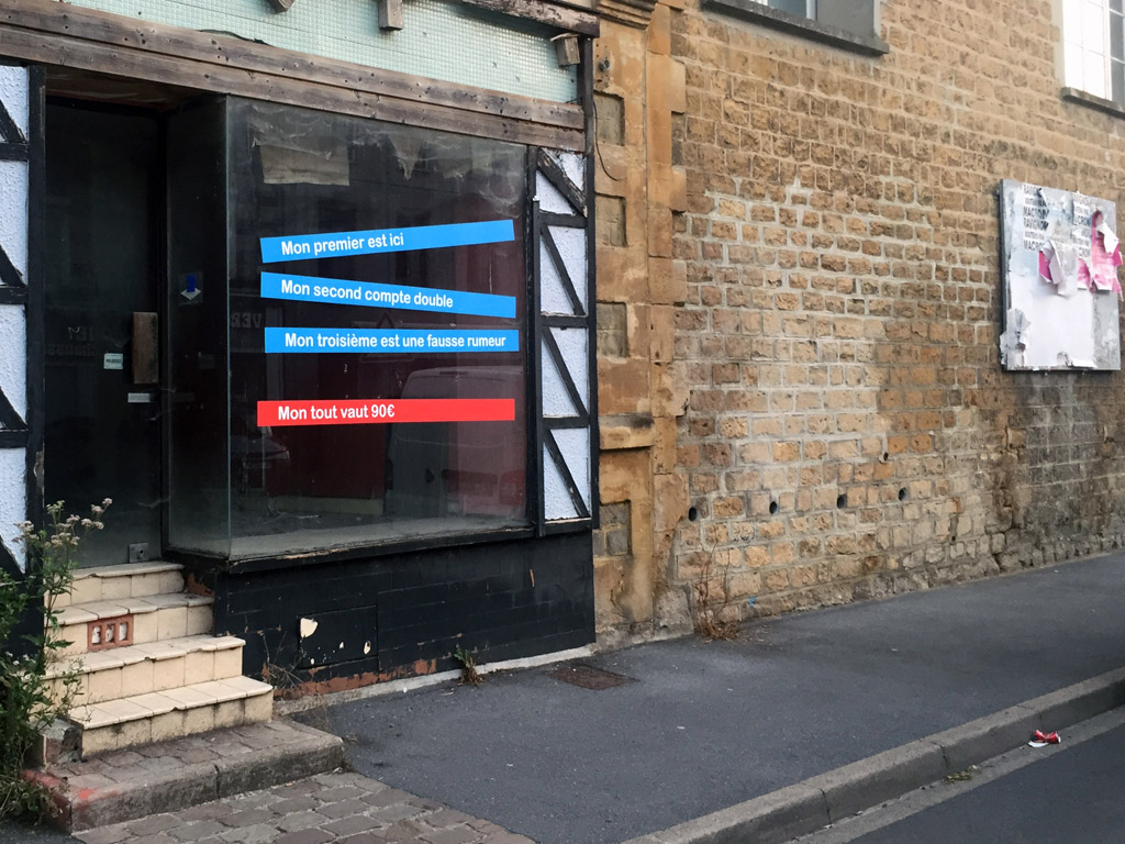 Claude Closky, 'Charades,' 2020, street windows, adhesive color vinyl, dimensions variable. 'Balak #10,' outdoor installation, Charleville Mézières. August 2020. Curated by Mehyrl Levisse.