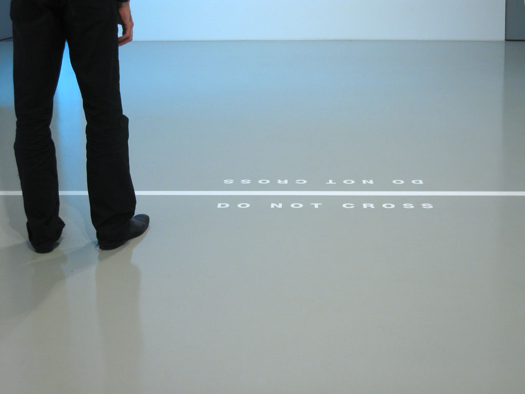 Claude Closky, 'Do not cross,' 2007, vinyl adhesive, dimensions variable. Exhibition view 'Do not cross', Galerie Mehdi Chouakri, Berlin. 2 June - 14 July 2007