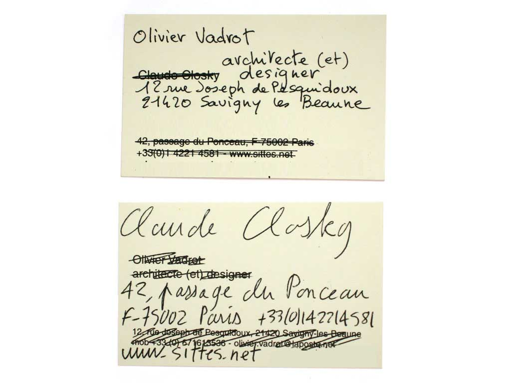 Claude Closky, 'Olivier Vadrot / Claude Closky,' 2003, Lyon: La Salle de bains. Two business cards, black offset, each 5 x 8 cm.