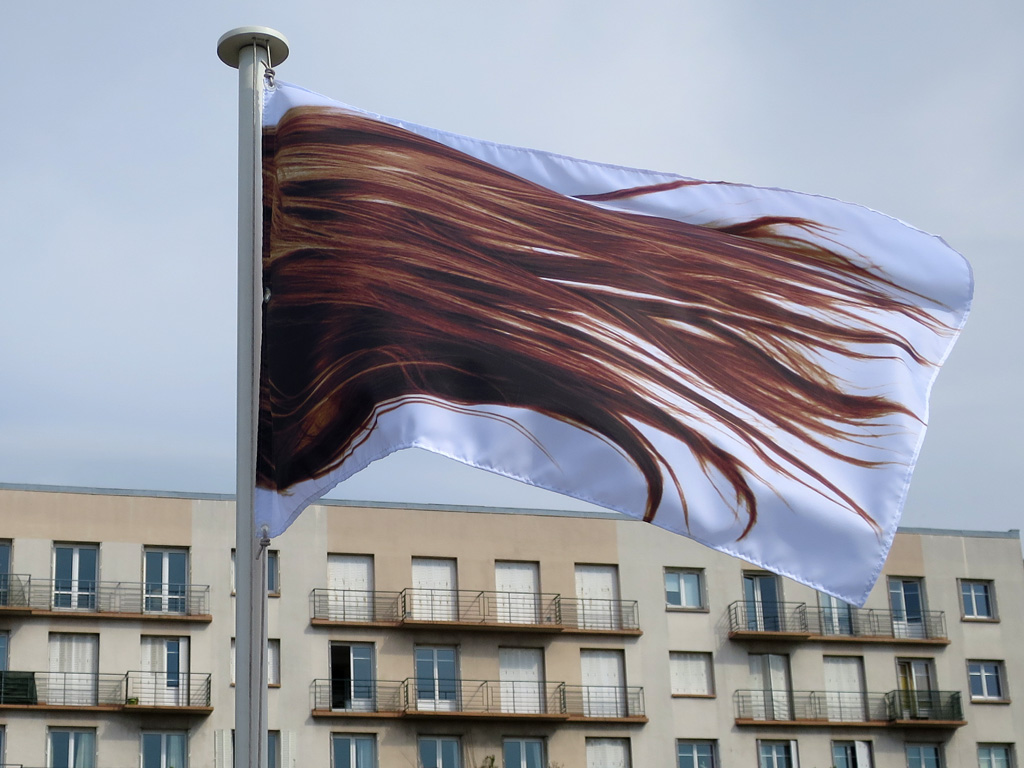 Claude Closky, 'The Hair,' 2015, sublimation printing on polyester, 115 g/m2, 100 x 150 cm. Exhibition view 'Les Drapeaux,' Maison des arts, Malakoff. 5 July - 12 July 2015. Curated by Pablo Cavero.