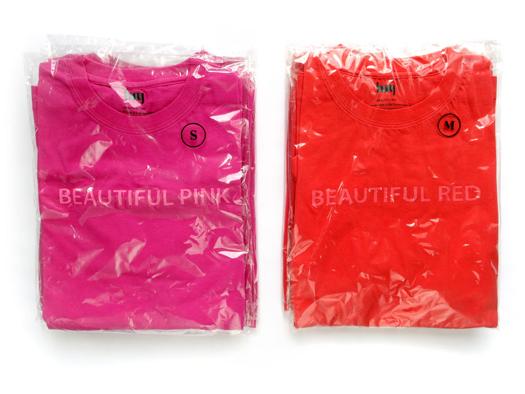 Claude Closky, 'Beautiful Pink, Beautiful Red', 2008, Beijing: Han Ji Yun Contemporary Space. T-shirt, sizes XL, L, M, S, SX.