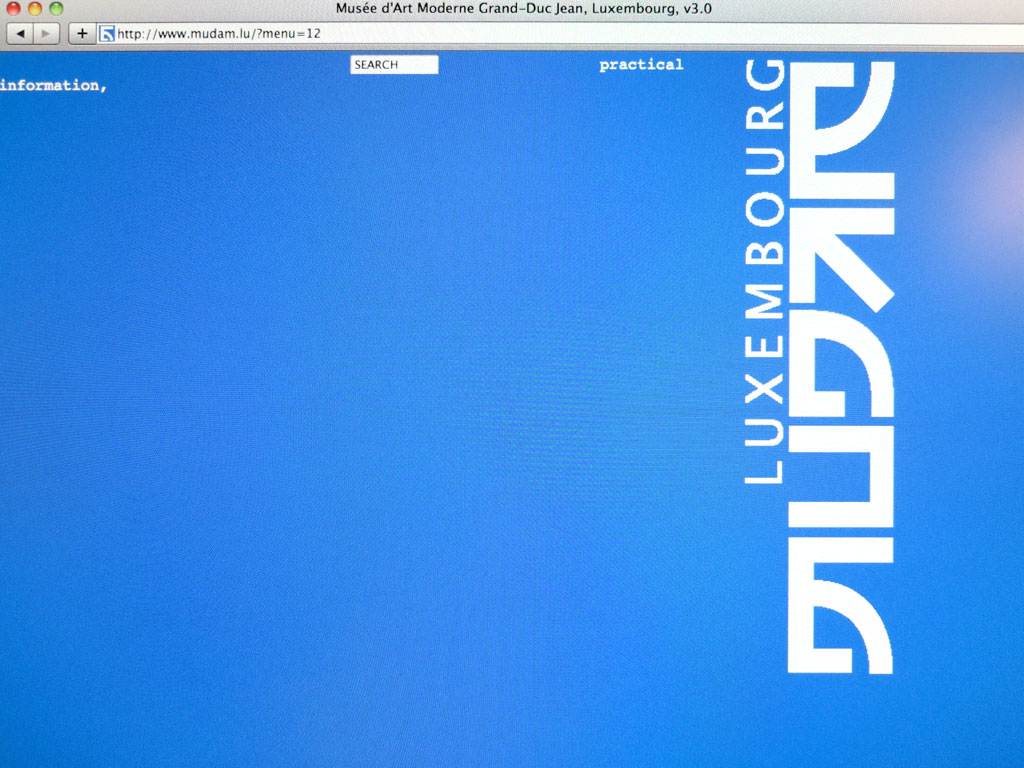 Claude Closky, 'www.mudam.lu', 2006, version 3.0. Conception and production of a new Mudam web site for the Fondation Grand-Duc Jean Museum of Modern Art, Luxembourg. Realisation: Jean-Noël Lafargue. Launched June 2006.