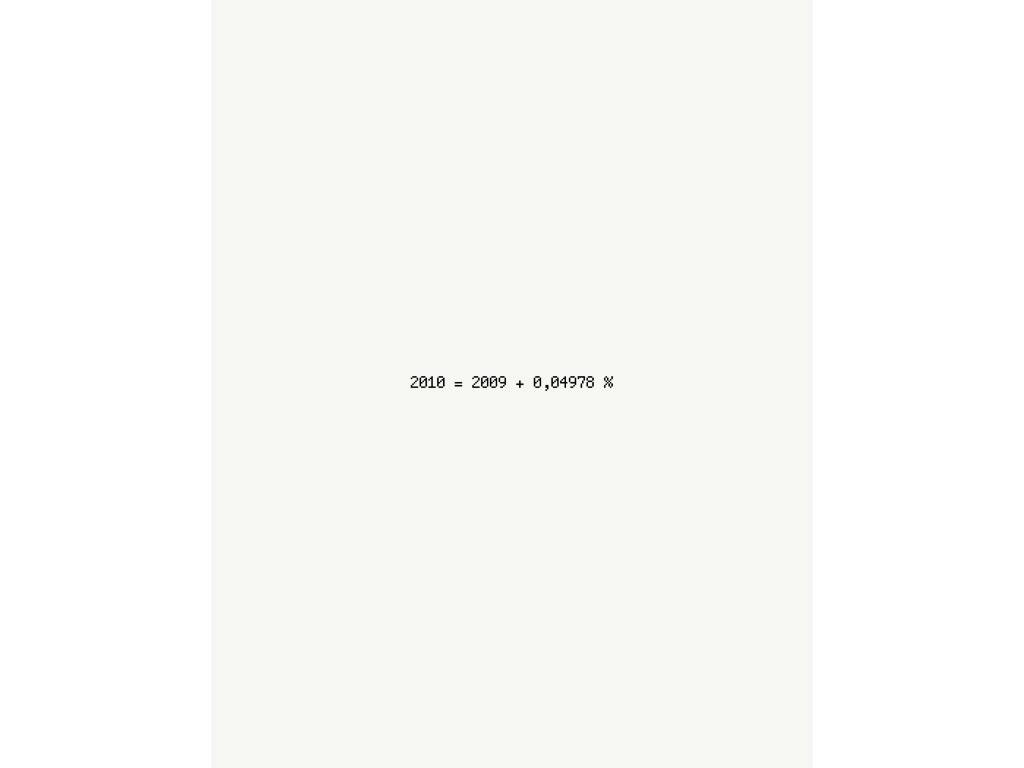 Claude Closky, '+ 0,04978 %', 2009, 2010 greeting card. Caen: Basse-Normandie Fonds National d'Art Contemporain, 18,5 x 14,5 cm.