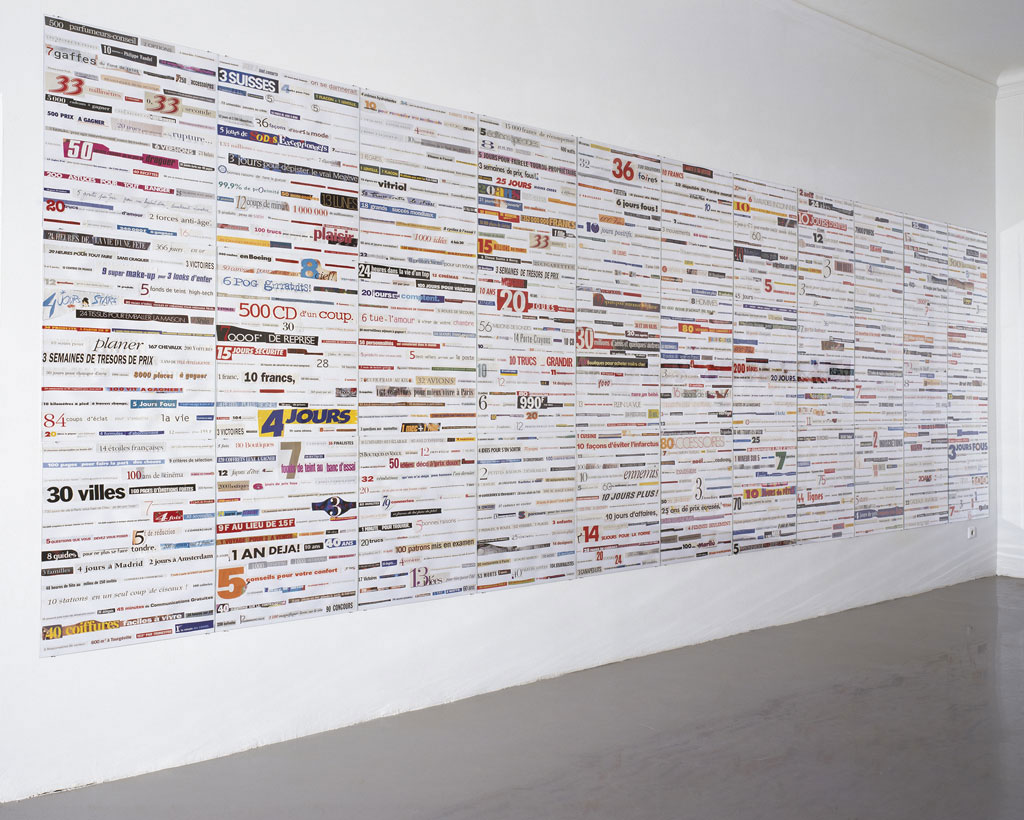 Claude Closky, '10 jours pour effacer 10 ans [10 days to erase 10 years]', 1993-1996, collage, 210 x 612 cm (36 sheets 70 x 51 cm each). Exhibition view Galerie Mehdi Chouakri, Berlin. 18 January - 1 March 1997