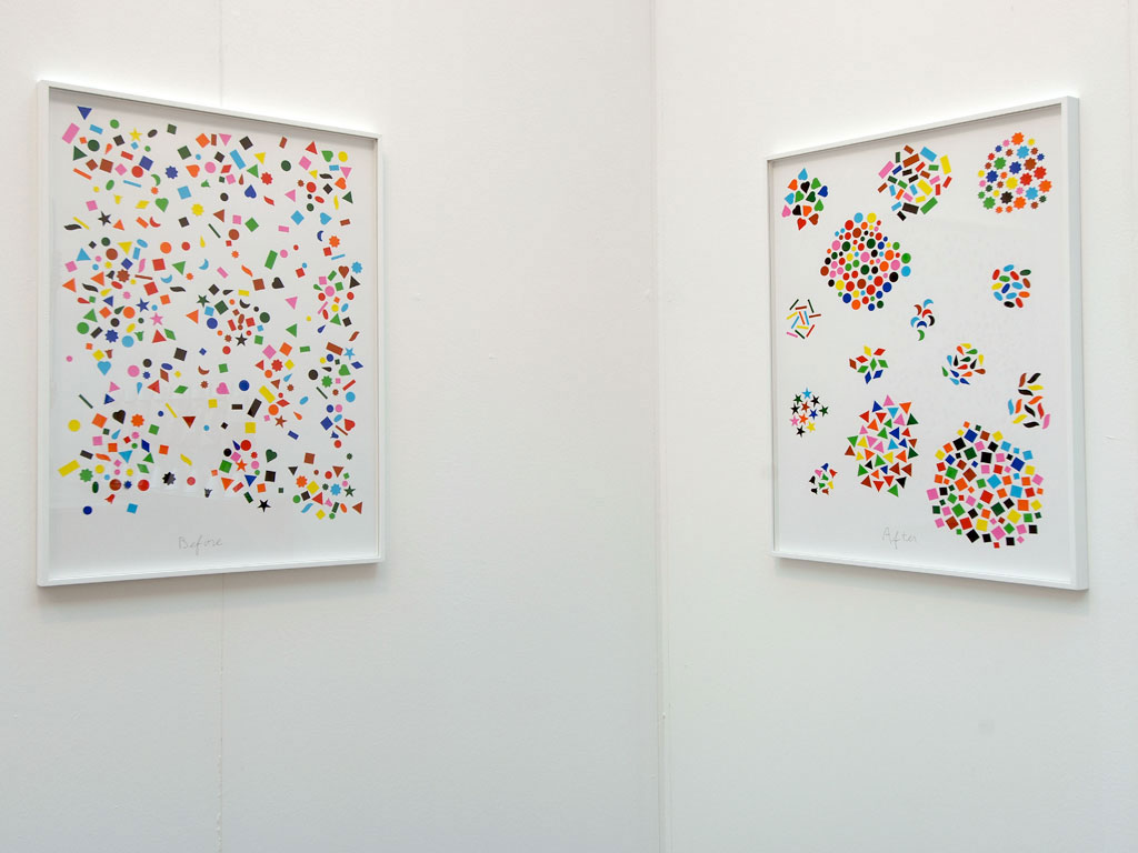 Claude Closky, 'Before and After (14 shapes)', 2004, collage, stickers, ballpoint pen, dyptique, twice 80 x 60 cm.