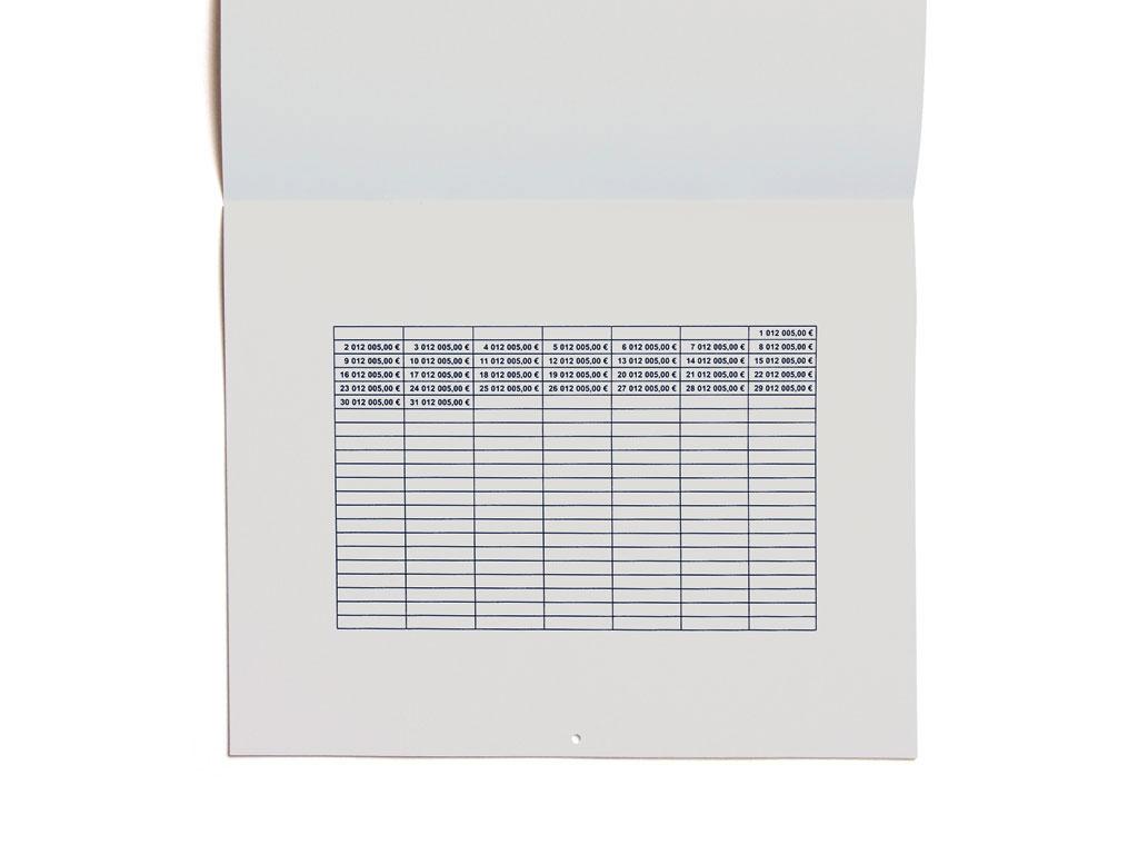 Claude Closky, '2,005.00 euros,' 2004, Paris: Editions 2-909043. Black offset, 24 pages, 24 x 30 cm.