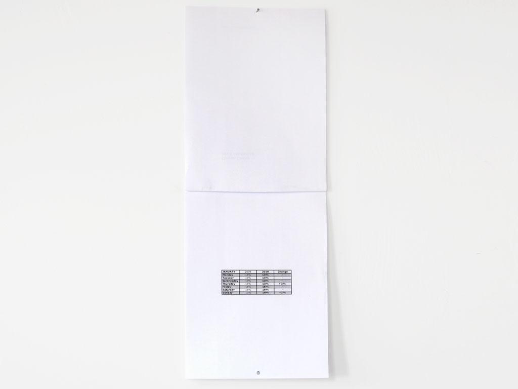 Claude Closky, '2010 Calendar', 2009, Paris: Galerie Laurent Godin, laser print, 12 pages, 29,7 x 21 cm.