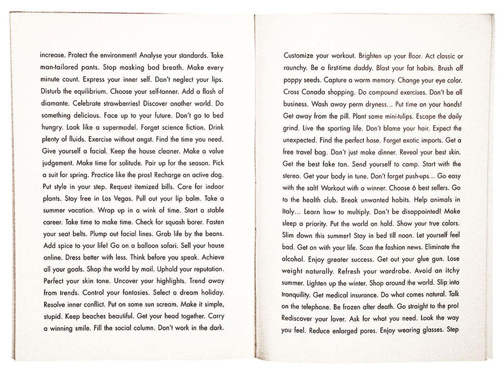 Claude Closky, 'A 1000 things to do,' 1994-1996, Paris: Galerie du Jour agnès b. Black offset, 64 pages, 21 x 15 cm.