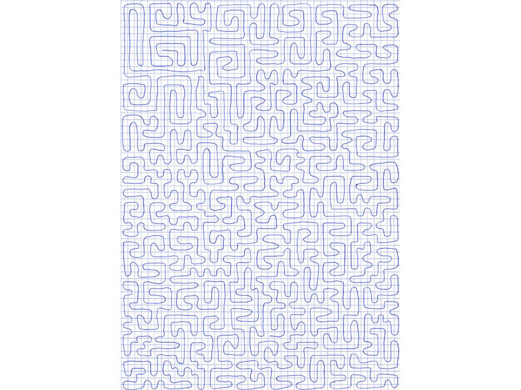 Claude Closky, 'Going Everywhere (Run 5)', 2009, blue ballpoint pen on grid paper, 21 x 30 or 30 x 21 cm.