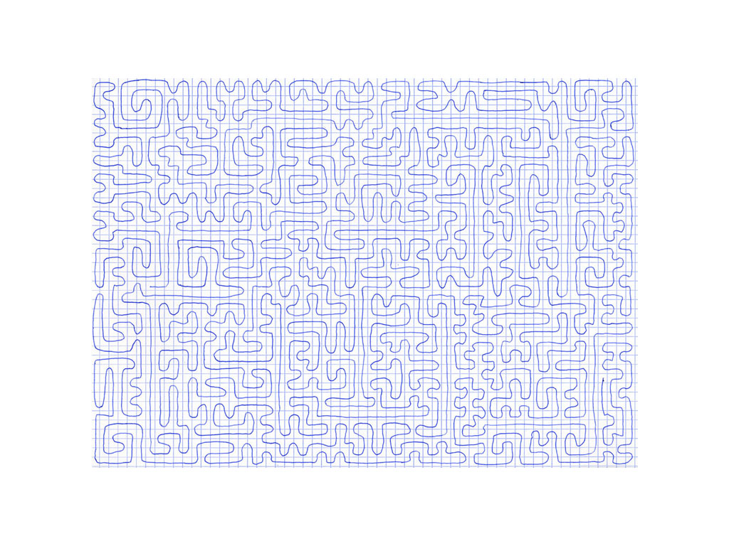 Claude Closky, 'Going Everywhere (Run 6)', 2009, blue ballpoint pen on grid paper, 21 x 30 or 30 x 21 cm.