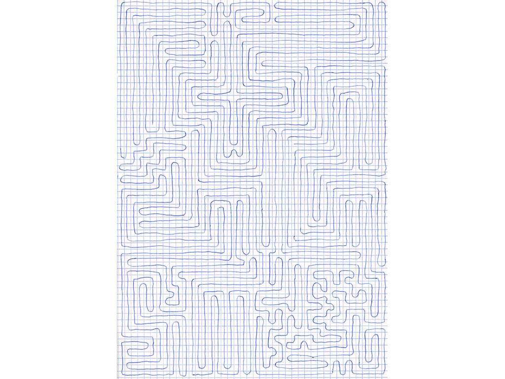 Claude Closky, 'Going Everywhere (Run 9)', 2009, blue ballpoint pen on grid paper, 21 x 30 or 30 x 21 cm.
