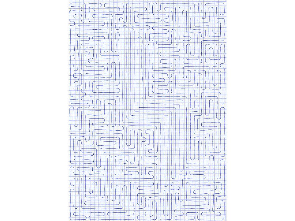 Claude Closky, 'Going Everywhere (Run 12)', 2009, blue ballpoint pen on grid paper, 21 x 30 or 30 x 21 cm.