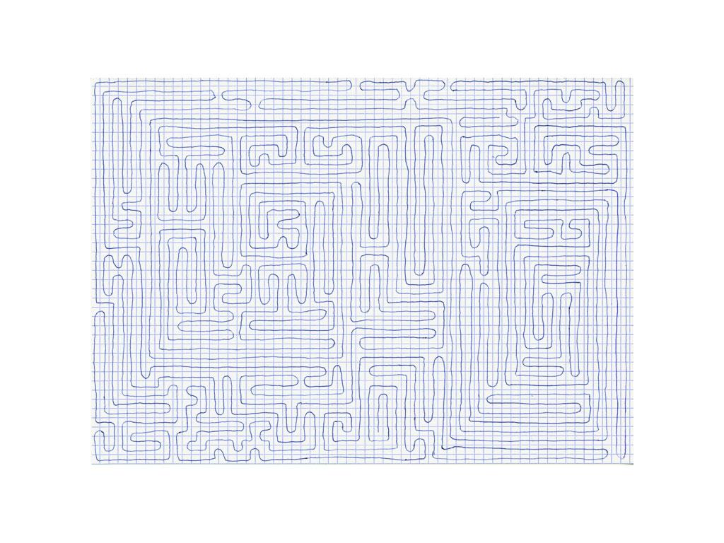 Claude Closky, 'Going Everywhere (Run 13)', 2009, blue ballpoint pen on grid paper, 21 x 30 or 30 x 21 cm.