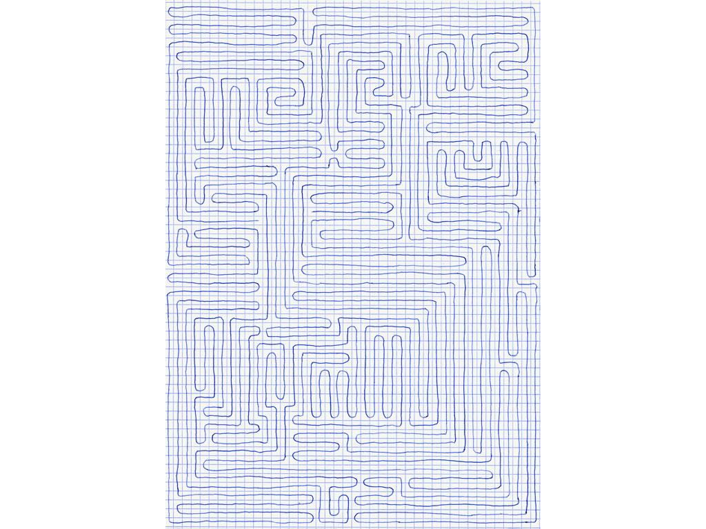 Claude Closky, 'Going Everywhere (Run 14)', 2009, blue ballpoint pen on grid paper, 21 x 30 or 30 x 21 cm.