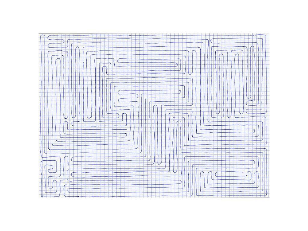 Claude Closky, 'Going Everywhere (Run 15)', 2009, blue ballpoint pen on grid paper, 21 x 30 or 30 x 21 cm.