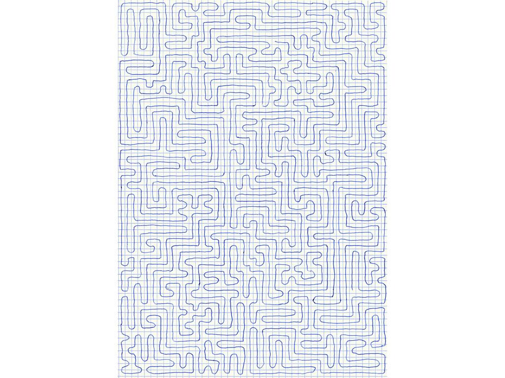 Claude Closky, 'Going Everywhere (Run 16)', 2009, blue ballpoint pen on grid paper, 21 x 30 or 30 x 21 cm.
