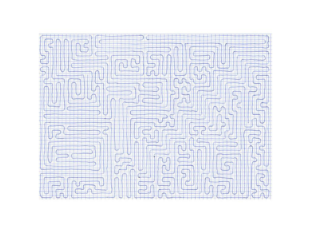 Claude Closky, 'Going Everywhere (Run 17)', 2009, blue ballpoint pen on grid paper, 21 x 30 or 30 x 21 cm.