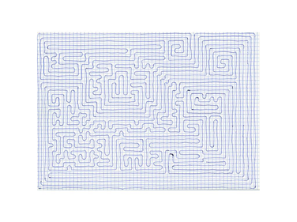 Claude Closky, 'Going Everywhere (Run 19)', 2009, blue ballpoint pen on grid paper, 21 x 30 or 30 x 21 cm.