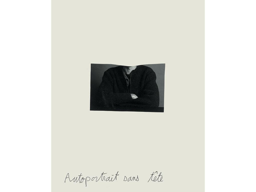 Claude Closky, 'Autoportrait sans tête [headless self-portrait]', 1993, black and white photograph and ballpoint pen on paper, 30 x 24 cm.