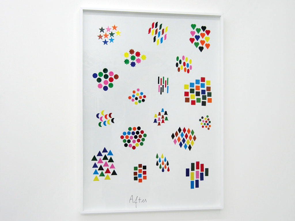 Claude Closky, 'Before and After (shapes)', 2004, collage, stickers, ballpoint pen, dyptique, twice 80 x 60 cm.