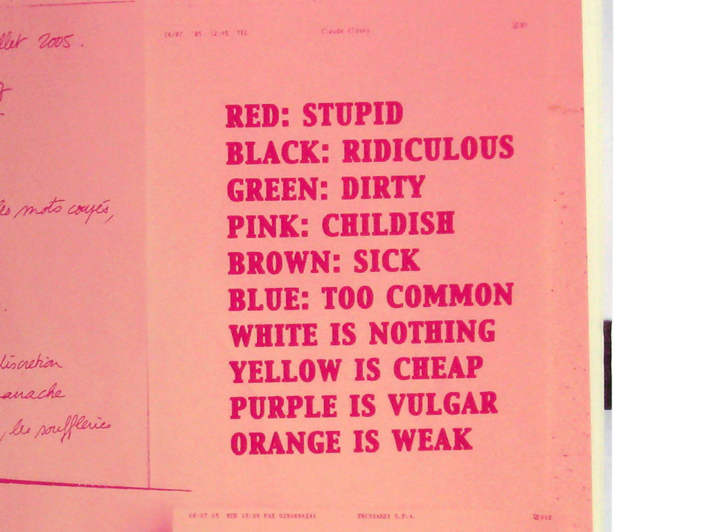 Claude Closky, 'Black List', 2005, Paris: Self Service n°23 (fall/winter), p. 337.