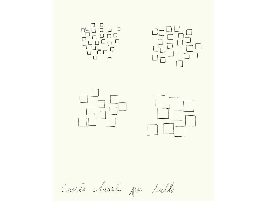 Claude Closky, 'Carrés classés par taille [square classify by size]', 1990, ballpoint pen on paper, 30 x 24 cm.
