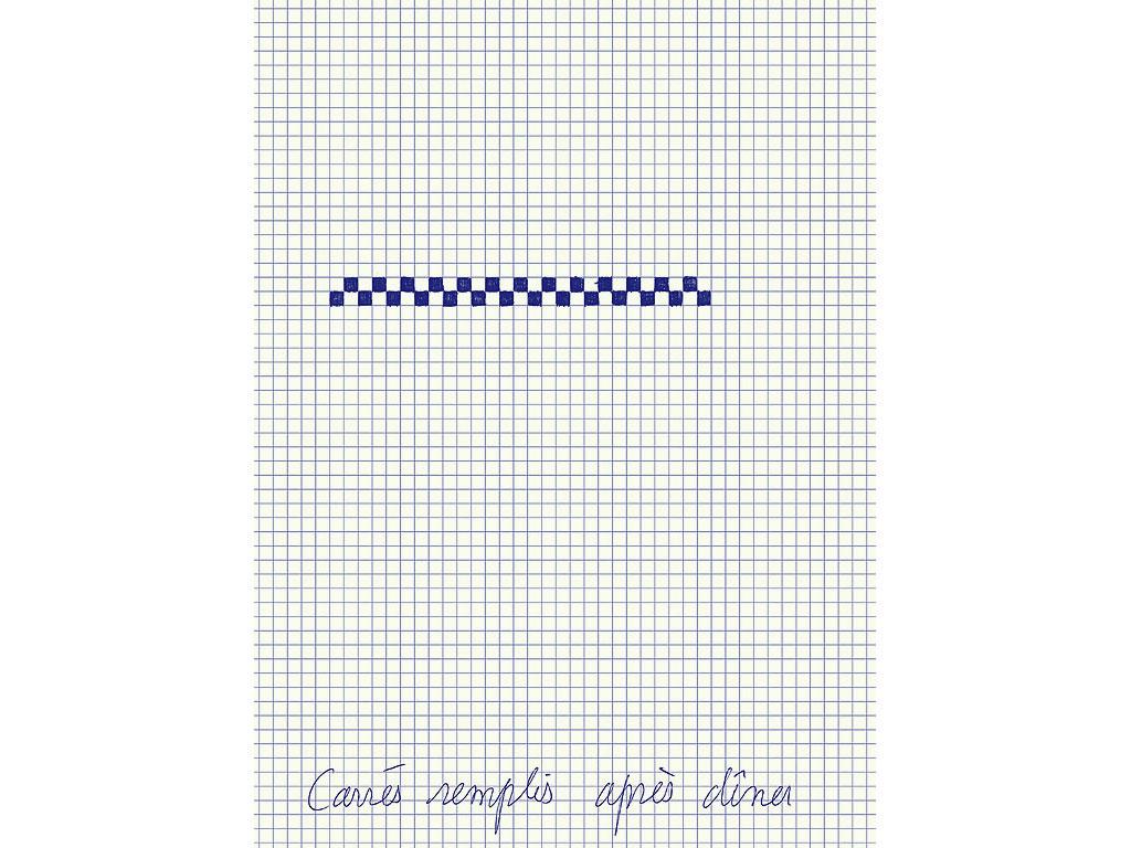 Claude Closky, 'Carrés remplis après dîner [squares filled after diner]', 1994, blue ballpoint pen on grid paper, 30 x 24 cm.