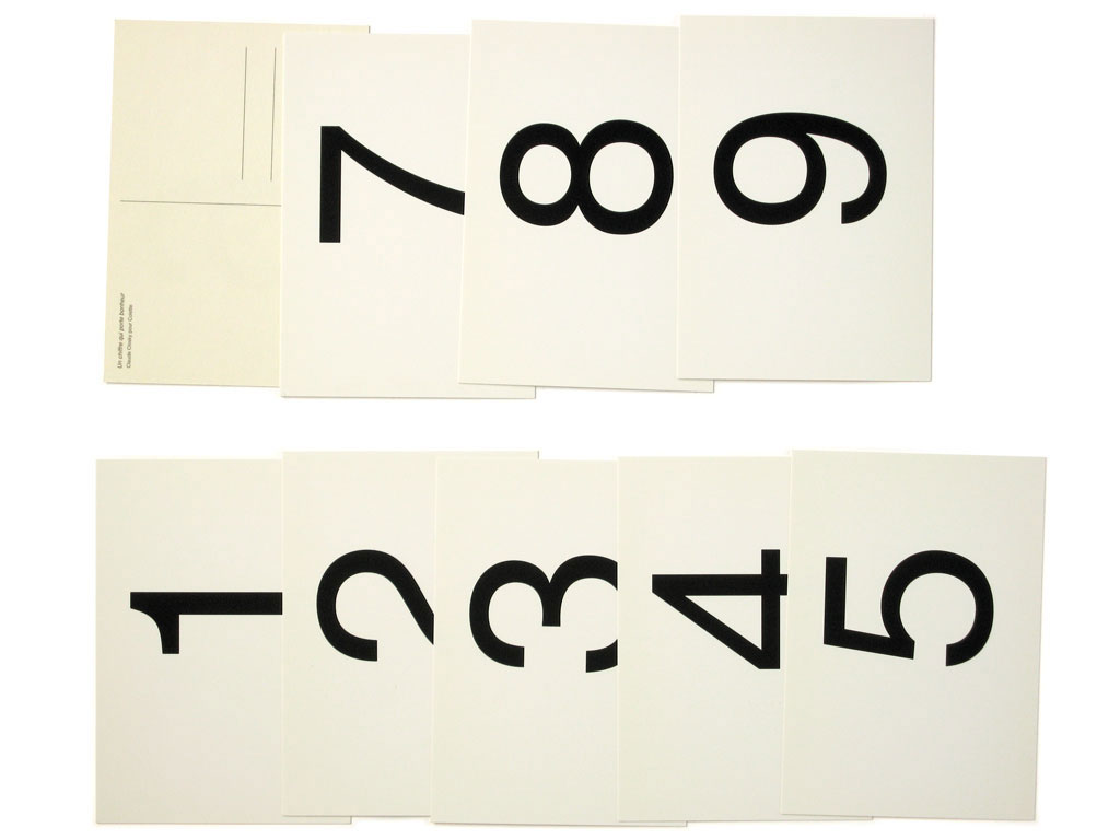 Claude Closky, 'The numbers that bring luck', 1999, postcards. Paris: Colette, 9 cards, 105 x 150 mm each.