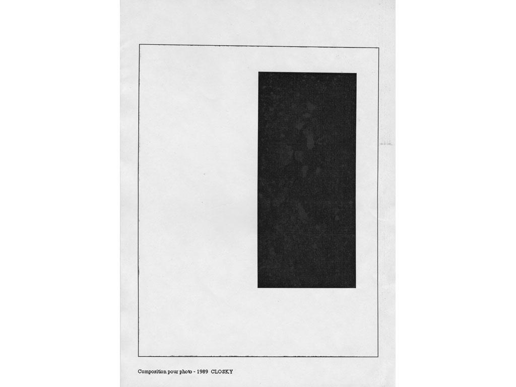 Claude Closky, 'Composition for photo (1),' 1989, laserprint on paper, 21 x 29,7 cm.