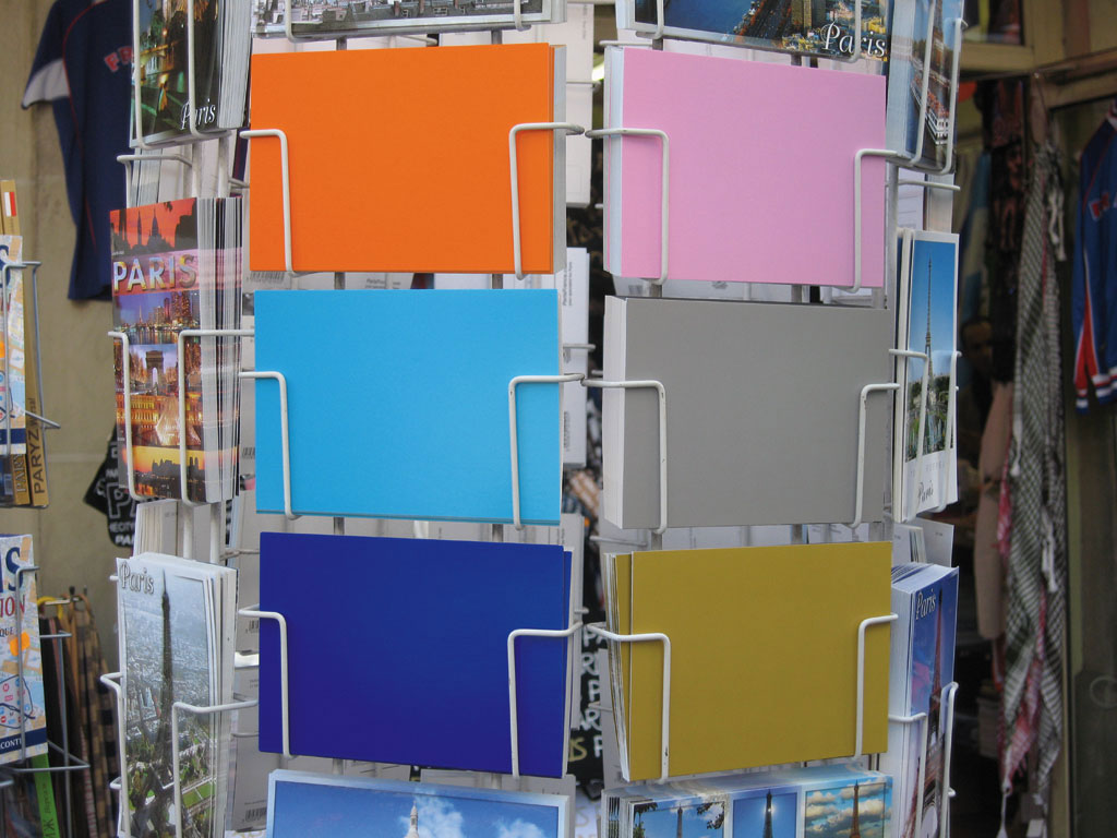 Claude Closky, 'Favorite color (1)', 1999, postcards, Paris: Colette, 6 cards, 105 x 150 mm each.