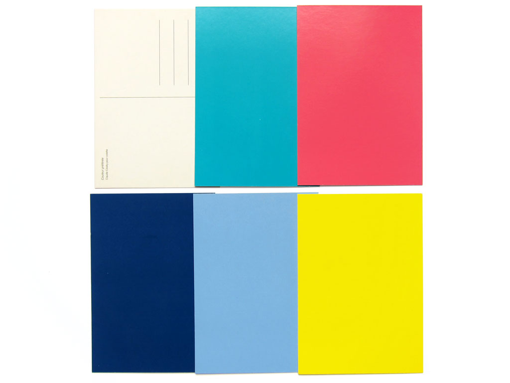 Claude Closky, 'Favorite color (2)', 1999, postcards, Paris: Colette, 6 cards, 105 x 150 mm each.