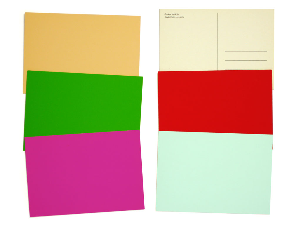 Claude Closky, 'Favorite color (3)', 2000, postcards, Paris: Colette, 6 cards, 105 x 150 mm each.