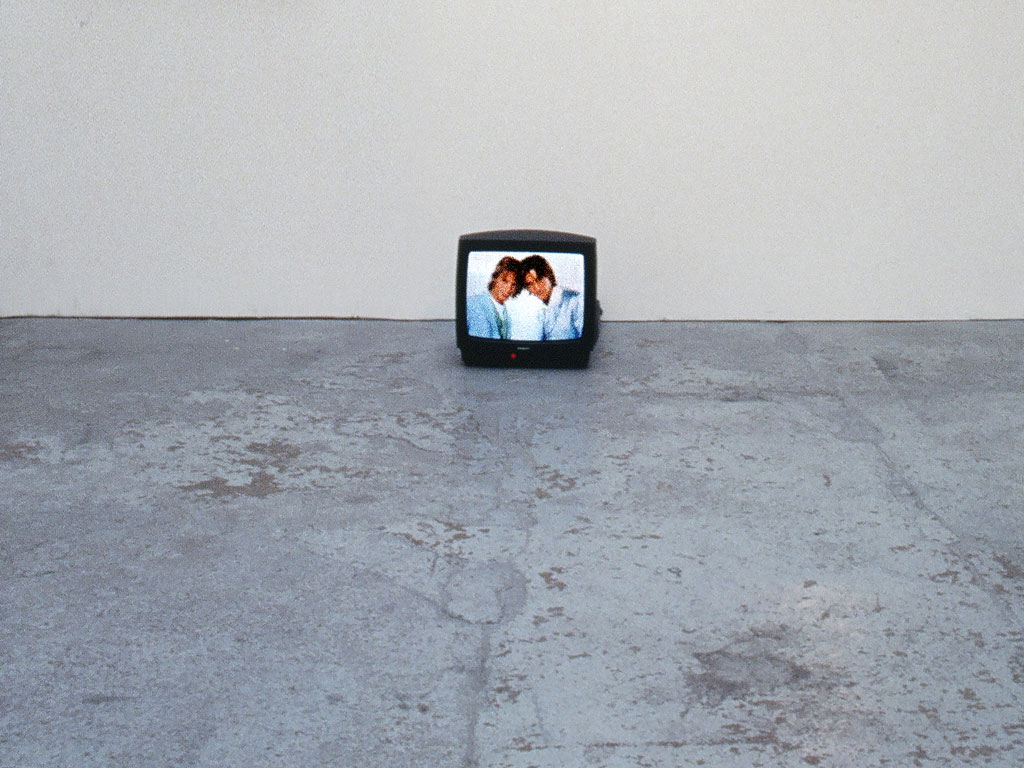 Claude Closky, 'Cousins', 1998, monitor, dvd, dvd player, silent, loop. Exhibition view 'Premises', Guggenheim Soho, New York. 13 October 1998 - 11 January 1999. Curated by Bernard Blistène, Alison Gingeras.