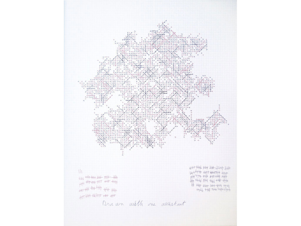 Claude Closky, 'Drawn with one assistant (123/174)', 2006, black and red ballpoint pen on grid paper, 65 x 50 cm.