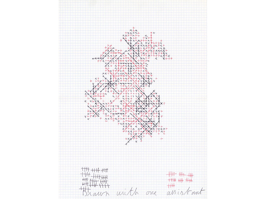 Claude Closky, 'Drawn with one assistant (65/35)', 2006, black and red ballpoint pen on grid paper, 40 x 30 cm.