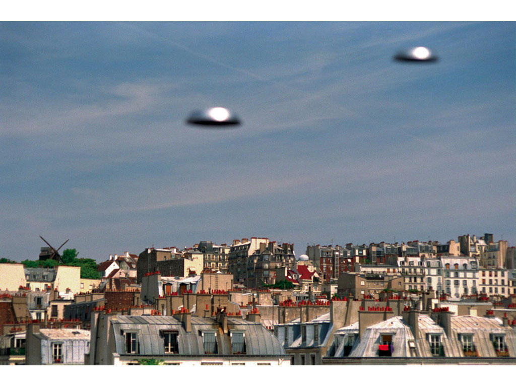 Claude Closky, 'Flying Saucers, Rue Lepic (2)', 1996, c-print, 20 x 30 cm.